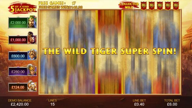 Collecting five tiger symbols will trigger the Wild Tiger Super Spin.