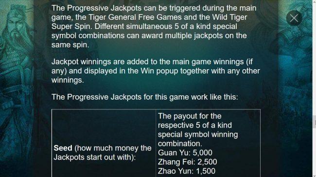 Five Tiger Generals :: Progressive Jackpots Rules