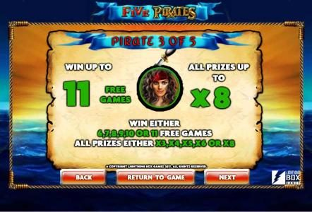 Casimba featuring the Video Slots Five Pirates with a maximum payout of $200,000