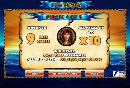 Vegas Baby featuring the Video Slots Five Pirates with a maximum payout of $200,000