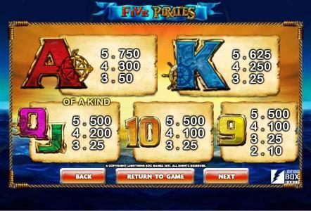 Vera&John featuring the Video Slots Five Pirates with a maximum payout of $200,000