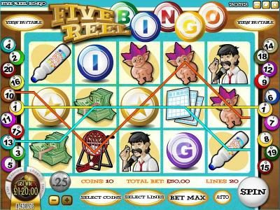 Supreme Play featuring the Video Slots Five Reel Bingo with a maximum payout of $3,750