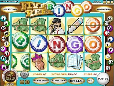 Slots LV featuring the Video Slots Five Reel Bingo with a maximum payout of $3,750