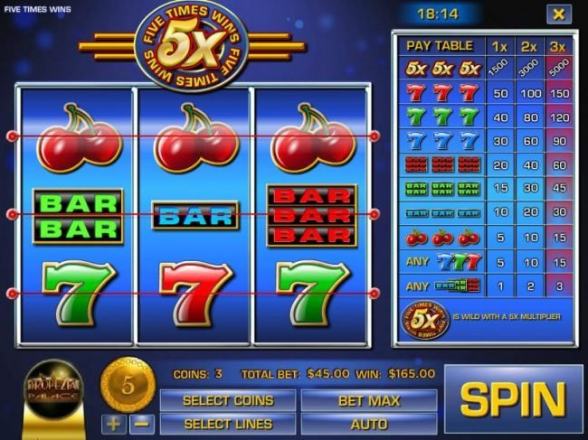 Play slots at Domgame: Domgame featuring the Video Slots Five Times Wins with a maximum payout of $75,000