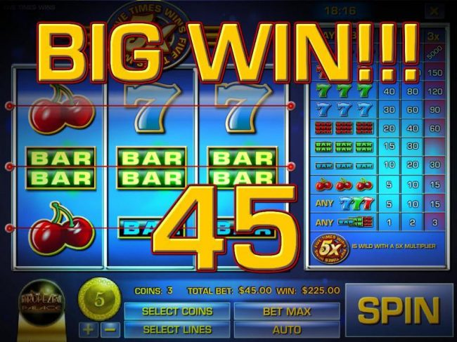 Vegas Fortune featuring the Video Slots Five Times Wins with a maximum payout of $75,000