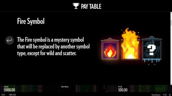 Fire Symbol is a mystery symbol that will be replaced by another symbol type, except for wild or scatter.