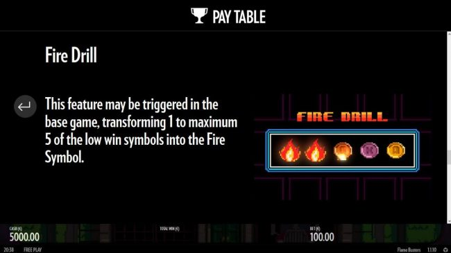 Frie Drill - This feature may be triggered in the base game, transforming 1 to maximum 5 of the low win symbols into the fire symbol.
