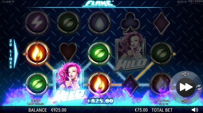 Lucky Me Slots featuring the Video Slots Flame with a maximum payout of $75,000