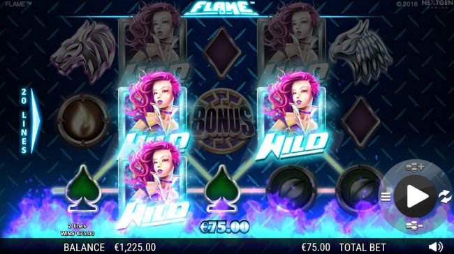 Betive featuring the Video Slots Flame with a maximum payout of $75,000