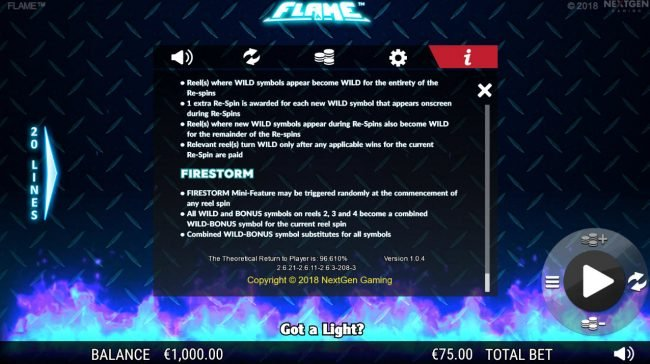 Euro King featuring the Video Slots Flame with a maximum payout of $75,000