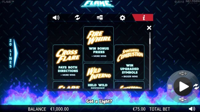 Crystal featuring the Video Slots Flame with a maximum payout of $75,000