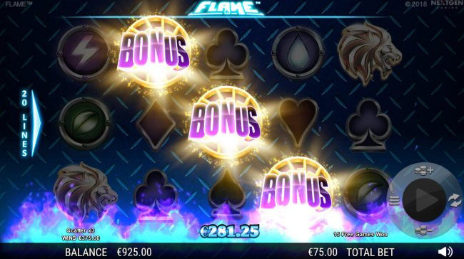 Betchan featuring the Video Slots Flame with a maximum payout of $75,000