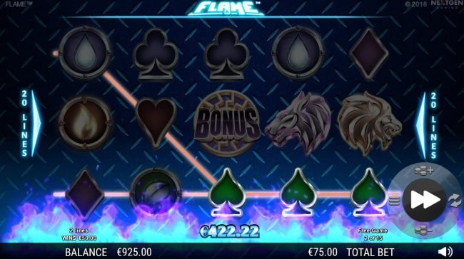 333 Palace featuring the Video Slots Flame with a maximum payout of $75,000