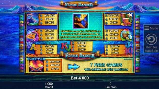 AC Casino featuring the Video Slots Flame Dancer with a maximum payout of $400,000