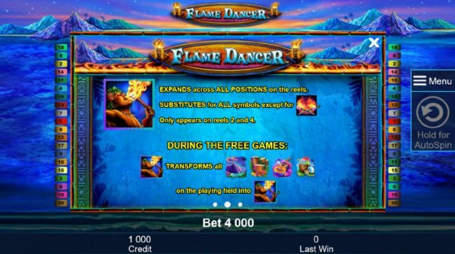 Casumo featuring the Video Slots Flame Dancer with a maximum payout of $400,000