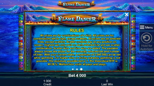 Company featuring the Video Slots Flame Dancer with a maximum payout of $400,000