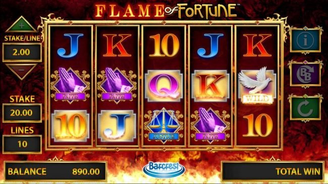 Fun Casino featuring the Video Slots Flame of Fortune with a maximum payout of $250,000