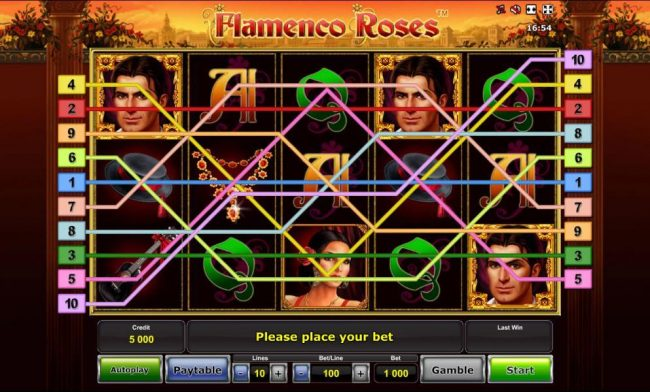 Main game board based on Spainish cultural dance, featuring five reels and 10 paylines with a $500,000 max payout