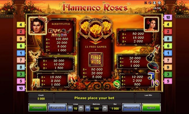 Slot game symbols paytable - symbols include a handsome man as the wild symbol, gold roses representing the scatter symbol and a dark haired woman
