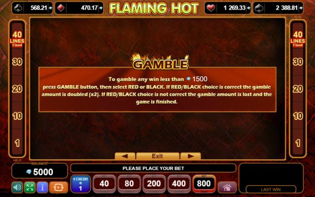 Flaming Hot :: Gamble Feature Rules