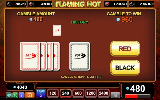 Flaming Hot :: Red or Black Gamble feature