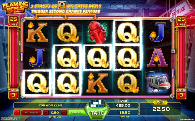 Joker Casino featuring the Video Slots Flaming Reels with a maximum payout of $3,125