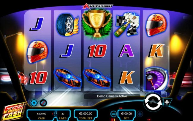 Flash Cash :: Main game board featuring five reels and 30 paylines with a $750,000 max payout.