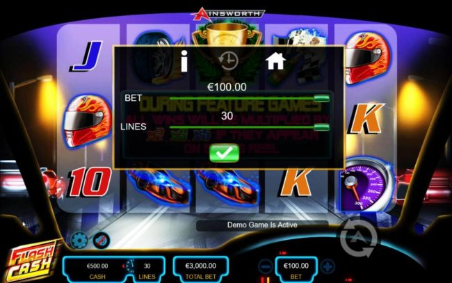 Flash Cash :: Click on the GEAR button to adjust the coin value played and lines played.