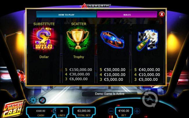 Flash Cash :: High value slot game symbols paytable - Base Game.