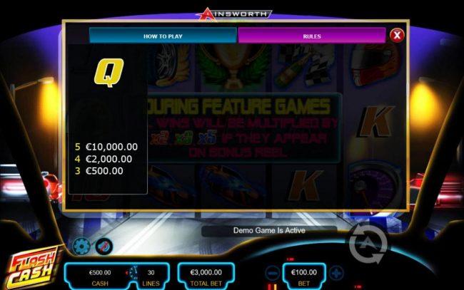 Flash Cash :: Low value game symbols paytable - Base Game.