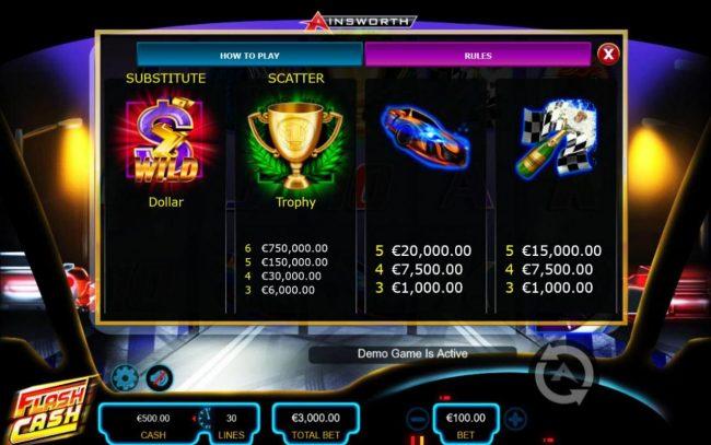 Flash Cash :: High value slot game symbols paytable - Free Games Bonus.