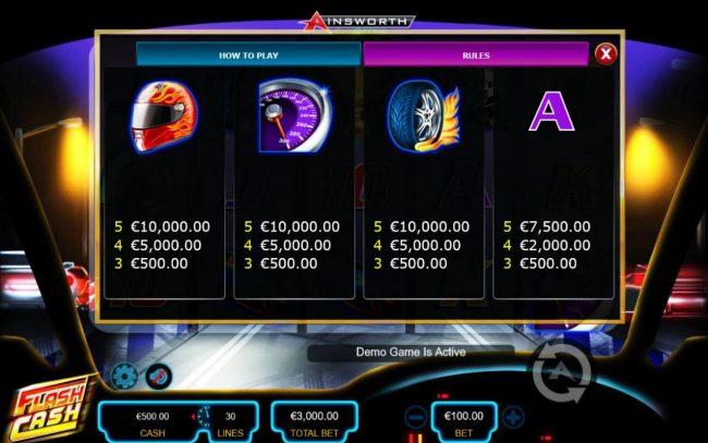 Flash Cash :: Medium Value Slot Game Symbols Paytable - Free Games Bonus.