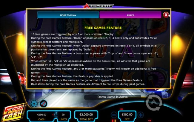 Flash Cash :: Free Games Feature Rules