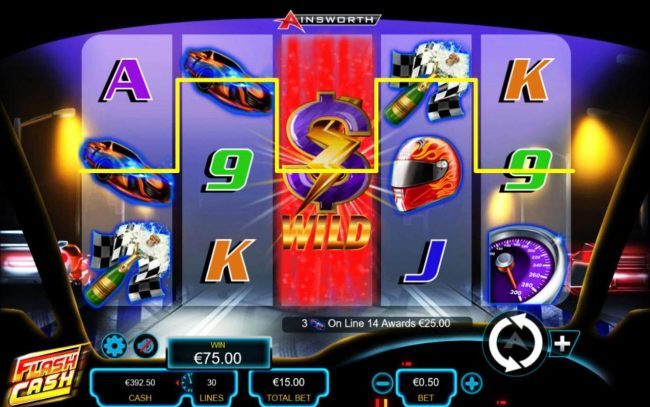 Flash Cash :: Stacked wild symbol on reel 3 triggers multiple winning paylines.