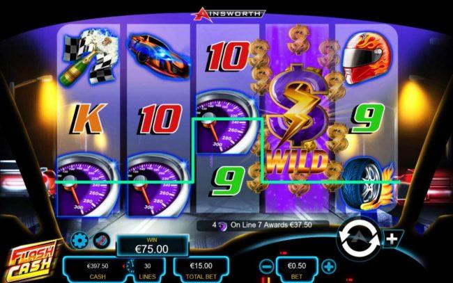 Flash Cash :: A tachometer winning 4-of-a-kind.