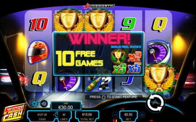 Flash Cash :: Landing three or more trophy scatter symbols anywhere on the reels triggers 10 free games.