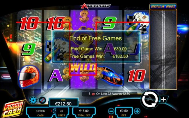 Flash Cash :: Total free games payout 182.50.