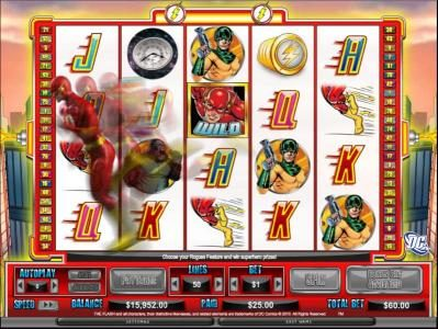 Casino Cruise featuring the Video Slots The Flash - Velocity with a maximum payout of $200,000