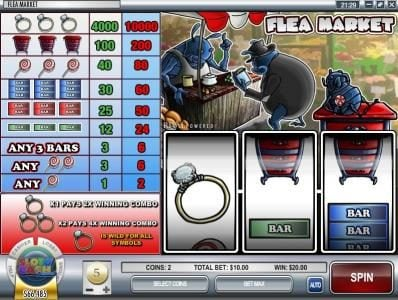Crazy Luck featuring the Video Slots Flea Market with a maximum payout of $500,000