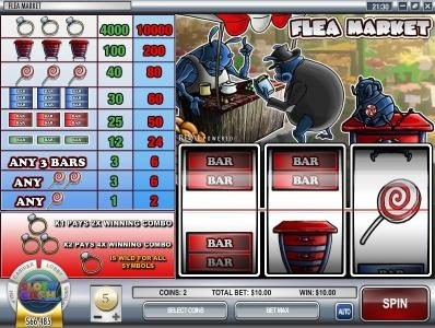 Slots Capital featuring the Video Slots Flea Market with a maximum payout of $500,000