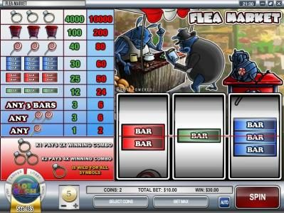 Vegas Days featuring the Video Slots Flea Market with a maximum payout of $500,000