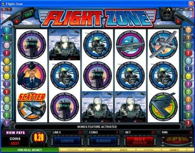 Casino Action featuring the Video Slots Flight Zone with a maximum payout of $4,000
