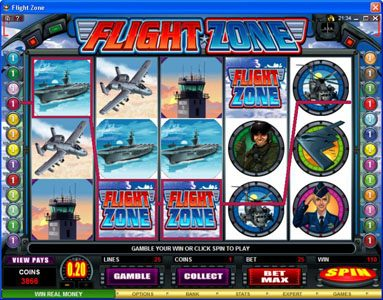 Play slots at Virtual City: Virtual City featuring the Video Slots Flight Zone with a maximum payout of $4,000