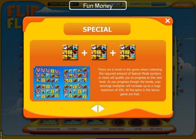 Win 7 featuring the Video Slots Flip Flap with a maximum payout of $15,000