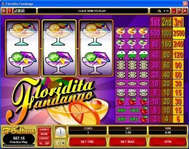 Bulldog777 featuring the Video Slots Floridita Fandango with a maximum payout of $37,500