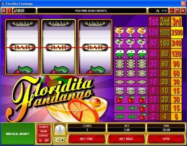 Oshi featuring the Video Slots Floridita Fandango with a maximum payout of $37,500