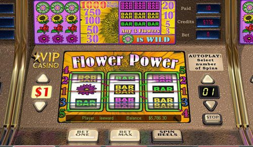 Fruity Vegas featuring the Video Slots Flower Power with a maximum payout of 1,000x