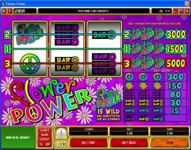 Grand Mondial featuring the Video Slots Flower Power with a maximum payout of $25,000