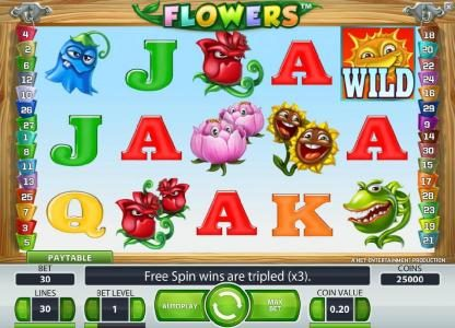 Touch Lucky featuring the Video Slots Flowers with a maximum payout of $37,500