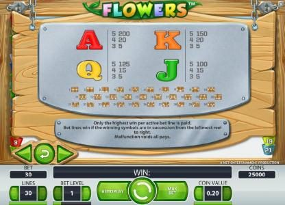 Casumo featuring the Video Slots Flowers with a maximum payout of $37,500